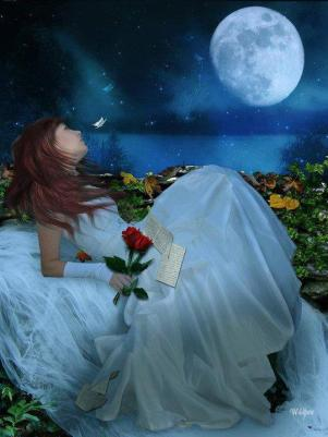 ragazza che guarda la luna